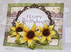 sunflower card by Liz Walker.... love the beaded centers..... (change sentiment) Sunflower Cards, Heartfelt Creations Cards, Shaped Cards, Thanksgiving Cards, Felt Hearts, Greeting Cards Handmade, Scrapbook Cards, Scrapbooking Ideas, Homemade Cards