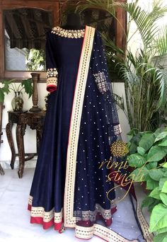 Life is simple, it's either cherry red or midnight blue.....   Midnight blue pure raw silk floor length gown with sequin and kundan hand embroidery on the neckline and sleeves , teamed with a matching net mukaish dupatta . There is dori and sequin embroidery on the ghera and four sides of dupatta..  Available exclusively at  Rimi Singh Studio A 999 Sushant Lok 1  Gurgaon  #9818310054