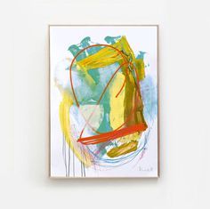 Printable Abstract Art Turquoise and Yellow digital Yellow Wall Art, Yellow Walls, Abstract Art, Printables, Turquoise, Digital, Unique Jewelry, Handmade Gifts, Painting