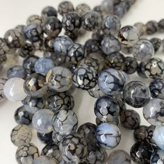 Natural Dragon Vein Agate Bead Strands, Grade A, Round, Faceted, Hole approx by ChooseBeads on Etsy Agate Beads, Gemstone Beads, Glass Beads, Strands, Jewelry Supplies, Handmade Items, Dragon, Gemstones, Natural