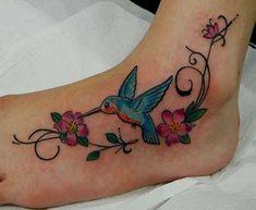 Anklet Tattoos, Foot Tattoos, Body Art Tattoos, Small Tattoos, Feather Tattoo Design, Flower Tattoo Designs, Humingbird Tattoo, Jamaican Tattoos, Hummingbird Flower Tattoos