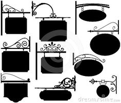 Vintage Wrought Iron Signs. Stock Photo - Image: 18139010