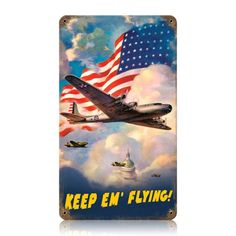 Old US Flag B 17 Aircraft Metal Sign adds unique decor to your home or business. Every WWII Military collector would love this unusual gift. All US Flag B 17 Aircraft Tin Signs are pre-drilled and ready to hang. Old Us Flag, Kit Kat Clock, Flying Flag, Military Decorations, Retro Gifts, Old Signs, Unusual Gifts, Military Aircraft, Metal Signs