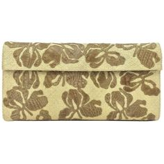Pre-owned Nancy Gonzalez Straw And Crocodile Floral Beige Clutch ($590) ❤ liked on Polyvore featuring bags, handbags, clutches, beige, floral handbags, flower print purse, beige handbags, brown crocodile handbag and preowned handbags