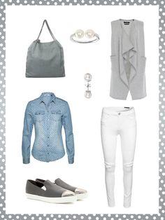 What to wear to work: dein perfektes Büro-Outfit. Zum Casual Friday passt dieser Look mit Denim-Shirt und weißer Jeans. Tolles Accessoire ab 17 Uhr: ein Aperol Spritz.