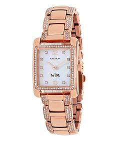 Loving this Rose Goldtone Square Page Bracelet Watch on #zulily! #zulilyfinds