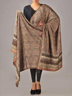 Tribal Hand-Block-Printed Tussar Silk Dupatta