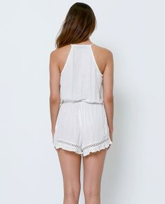 White Out Romper - White Lace – Piin   www.ShopPiin.com White Out, White Lace, White Romper Outfit, Crochet Lace, Lace Detail, Rompers, Bleach, Miami, Model