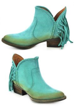 Corral Circle G turquoise fringe ankle boots