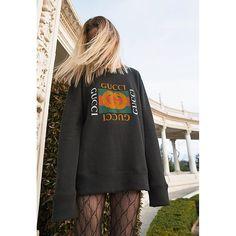 Vintage Gucci sweatshirt, fishnet tights, street style trends 2017