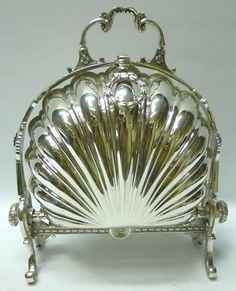 Victorian Silver Plated Folding Biscuit Box with Push Button (Unknown)