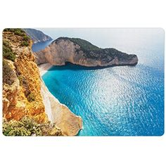 Greece Pet Mats for Food and Water by Ambesonne, Idyllic and Tranquil Sea Landscapes on Zakynthos Island Coastline Wanderlust Picture, Rectangle Non-Slip Rubber Mat for Dogs and Cats, Multicolor ** Continue to the product at the image link. (This is an affiliate link) #DogFeedingWateringSupplies