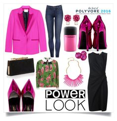 """""""Hot Pink Goals"""" by itsshayplay ❤ liked on Polyvore featuring PALLAS, Yves Saint Laurent, Lanvin, Jimmy Choo, Gucci, David Aubrey, Jemma Wynne and MAC Cosmetics"""