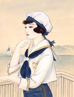 Dian Xi Xiang (Kisho Tsukuda), Japanese illustrator (b. 1955) - Sailor girl (1998)