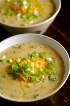 Roasted Poblano-Cheddar Soup / Creamy poblano chile soup with sharp cheddar cheese.