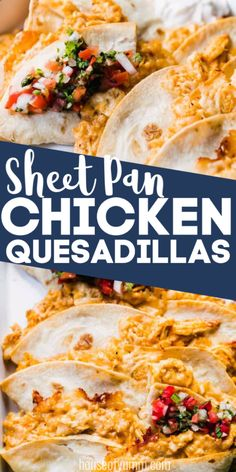 SO EASY! Sheet Pan Chicken Quesadillas,Easiest family dinner recipe ever! Quick and easy sheet pan chicken quesadillas! Cook an entire batch of quesadillas to feed a crowd or the family. Baked Orange Chicken, Baked Chicken, Creamy Chicken, Chicken Recipes, Carne Asada, Carnitas, Brisket, Churros, Chorizo