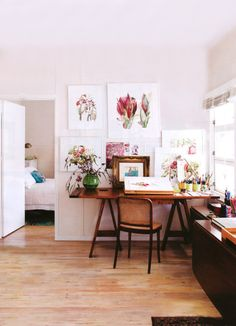 Cheerful Work Space with Botanical Prints