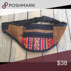 Artesanal Ecuadorian Fanny Pack This slim fitting fanny pack has two zippered pockets and adjustable waist belt. It is gorgeous and unique. A perfect addition to your summer wardrobe. Carry your essentials without having to hang on to or keep track of your purse.  Made in Ecuador. This is a NEW item, without tags. Made in Ecuador Bags Mini Bags Mini Bags, Summer Wardrobe, Ecuador, Fanny Pack, Carry On, Track, Essentials, Packing, Fashion Design