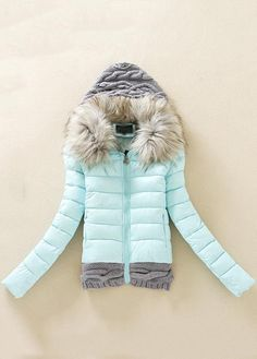 Mint and grey winter coat