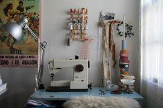 Lauren's clean sewing space @ Blooming Leopold.