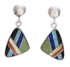 Multicolor Inlay Silver Southwest Post Dangle Earrings PX32545 http://www.silvertribe.com