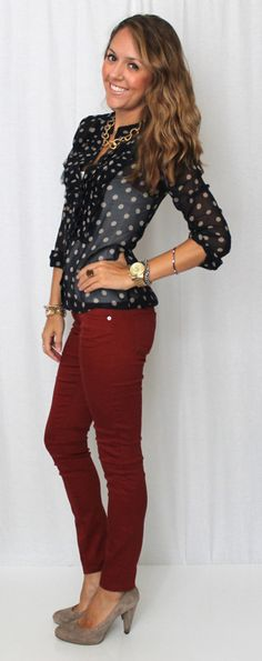 love the brick red skinnies with a navy top- not too big on polka dots. love the chunky gold chain.