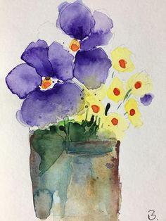 ORIGINAL AQUARELL Aquarellpostkarte Blumen Veilchen Stiefmütterchen Bild Kunst Art Watercolor Flowers Pansy Handmade