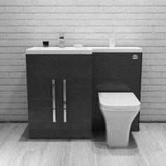 IN STOCK: best prices on Calm White Left Hand Combination Vanity Unit Set (No Toilet) - choose between 0 Toilet furniture White Vanity Unit, Basin Vanity Unit, Bathroom Vanity Units, Gray Vanity, Basin Taps, Bathroom Ideas, Combination Vanity Units, Concealed Cistern, Back To Wall Toilets