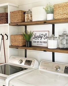did a laundry room makeover and we think our Laundry Co sign adds a nice little touch to her masterpiece. Also, can she come do mine next? Mudroom Laundry Room, Laundry Room Remodel, Laundry Decor, Laundry Room Bathroom, Farmhouse Laundry Room, Laundry Room Organization, Laundry Room Design, Rustic Laundry Rooms, Small Laundry Rooms
