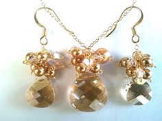 Collection Golden Shadow Necklace & Earrings Set - Bridal Gift, Jewelry Gift, Friend Gift