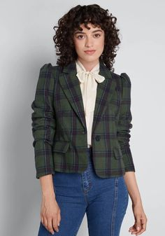 ModCloth Know Your Worth Cropped Blazer Green Plaid | ModCloth