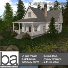 Barnesworth Anubis Lakeside Cottage - 54 Land Impact - Locking doors & privace window options included - Demo available - 488L