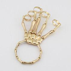 Unique Halloween Hand Skull Skeleton Elastic Bracelet Bangle