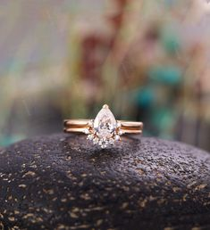 Pear shaped Moissanite Engagement Ring set Rose gold curved wedding band unique vintage Bridal set Jewelry Promise Anniversary gift women Vintage Diamond Wedding Bands, Curved Wedding Band, Antique Wedding Rings, Unique Wedding Bands, Nontraditional Engagement Rings, Pear Shaped Engagement Rings, Engagement Ring Settings, Vintage Engagement Rings, Vintage Bridal