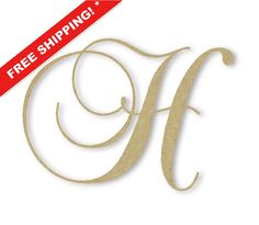 wooden monogram letter h large or small unfinished cursive wooden letter