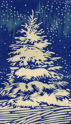 Aurora Borealis Hand-lifted woodblock print by Eric K. Nolan linocut pine tree in snow. Linocut Prints, Art Prints, Block Prints, Linoleum Block Printing, Linoprint, Wood Engraving, Christmas Art, Xmas, Woodblock Print