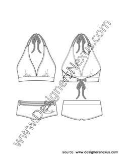 Flat Sketch V1 V-Neck Halter Bikini Top with Boy Short Bottom