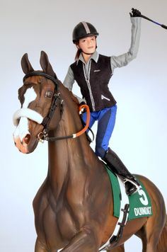 Race horse exercise rider - model horse, tack by Charlotte Pijnenburg