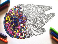 Millennium Falcon - PDF Zentangle Coloring Page