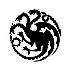 Game of Thrones - House Targaryen Sigil Stencil targaryen tattoo Game Of Thrones Tattoo, Tatuagem Game Of Thrones, Game Of Thrones Dragons, Game Of Thrones Sigils, Dragon Tattoo For Women, Dragon Tattoo Designs, Pumpkin Carving Games, House Stark Sigil, Chinese Dragon Tattoos