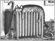 Kliban Cats 1977 March Warm Radiator Kitty Calendar Cat Print Original Bookplate From Calendarcat Book This Plate Comes Directly