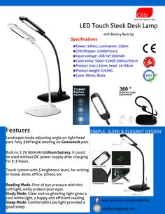 Accompany The All New LED lamp on your DESK work station. Sleek and Elegant Design With Lithium Battery Backup.