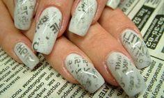 Uñas decoradas en casa: Fotos algunos modelos - Diseños uñas en casa: Efecto periódico largas