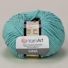 Pletací / háčkovací příze YarnArt GINA 81 světlá tyrkysová, jednobarevná, 50g/160m Throw Pillows, Toss Pillows, Cushions, Decorative Pillows, Decor Pillows, Scatter Cushions