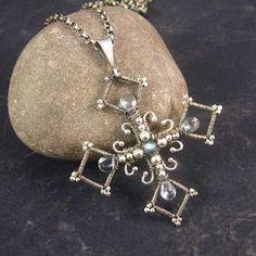 Amari Jewellery: Renaissance pendant, wire wrapped sterling and fine silver, labradorite, mystic quartz.