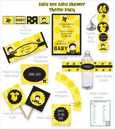 Baby Bee Shower Theme Pack Decorations Games
