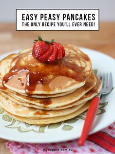 If Emma had her way, she'd have pancakes for breakfast every day! Luckily for her, my easy peasy pancake recipe comes together in a pinch, . Easy Basic Pancake Recipe, Fluffy Pancake Mix Recipe, Pancake Recipe With Yogurt, Best Pancake Recipe, Pancake Recipes, Diet Recipes, Breakfast Recipes, Recipies, Healthy Recipes