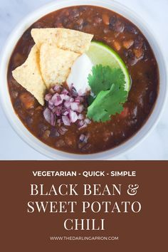 This Black Bean & Sweet Potato Chili comes together in less than an hour, is packed with flavor and the black beans and orange sweet potatoes fit the Halloween theme perfectly! #thedarlingapron #Chili #vegetarianrecipes #vegetarianchili #blackbeans #sweetpotatoes #fallrecipes #halloweenfood #FoodBlogFeed #feedfeed #fullbellies #meatlessmonday #hereismyfood #homemade #itsfallyall #foodstagram #instayum #recipeshare
