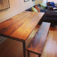 Reclaimed barn wood table and bench with metal frame