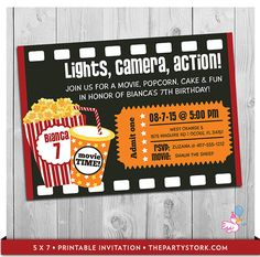 movie party invitation printable boys or girls movie invite personalized movie theater ticket birthday invitations black red yellow